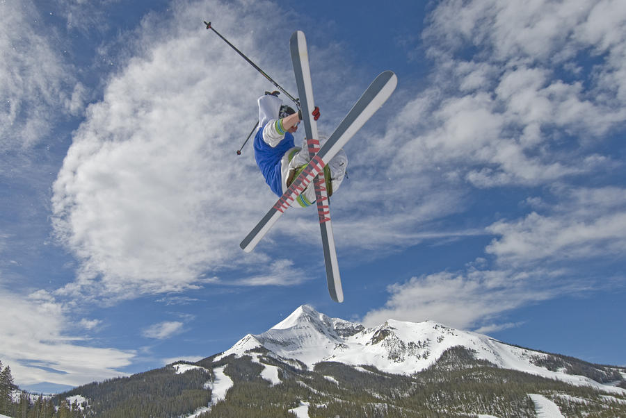 Skiing Aerial Maneuvers Off A Jump Photograph