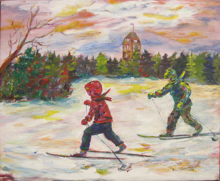 Skiing In The Park Painting