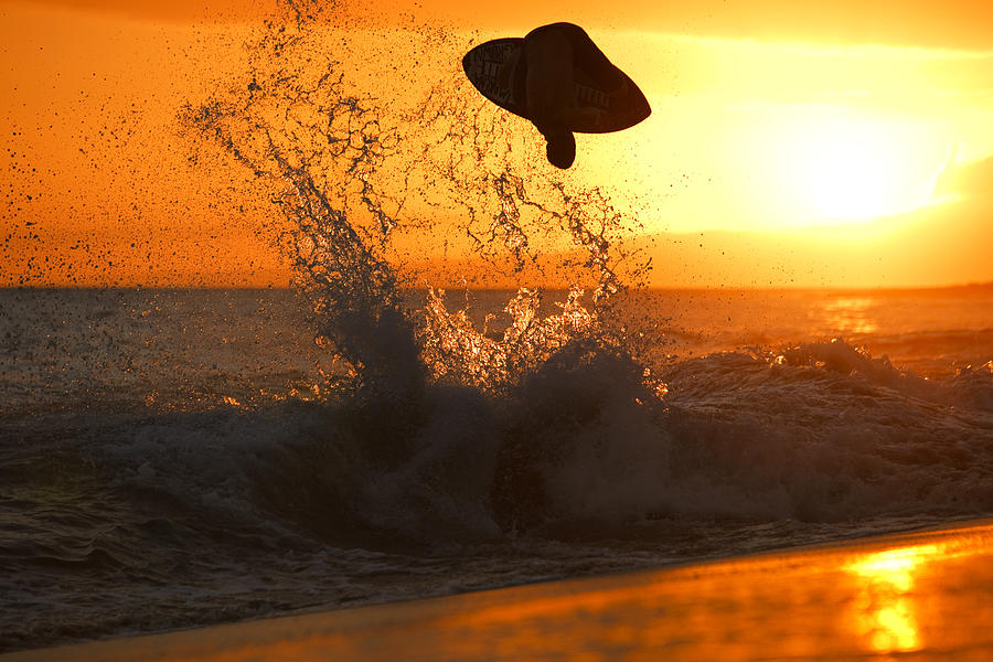 Skimboarding At Sunset Photograph  - Skimboarding At Sunset Fine Art Print