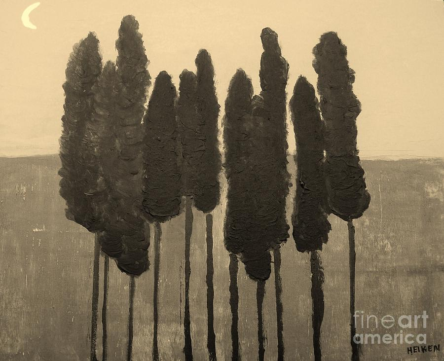Skinny Trees In Sepia Painting