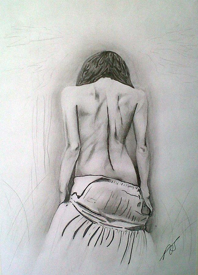 Nude Drawing - Skirt II by Paula Steffensen