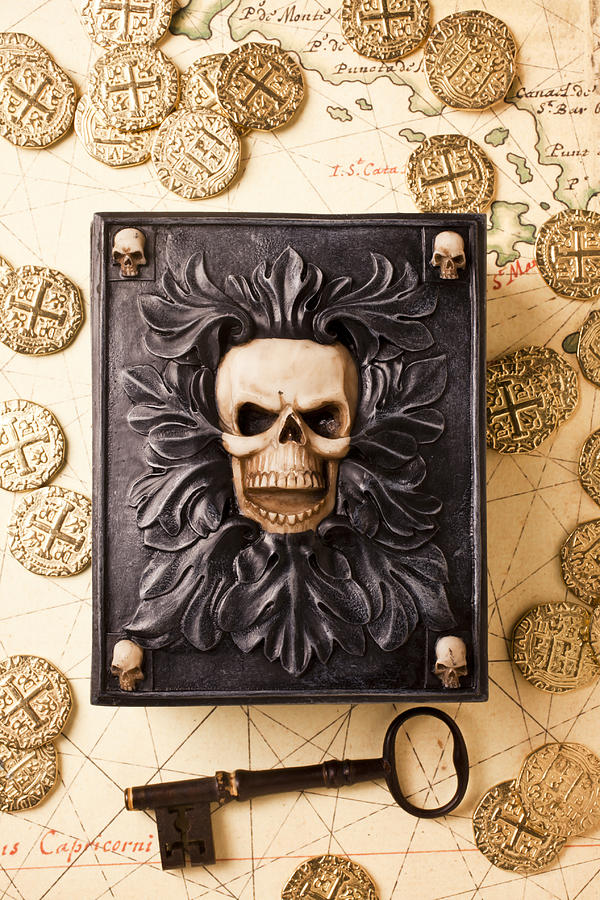 Skull Box Photograph - Skull Box With Skeleton Key by Garry Gay