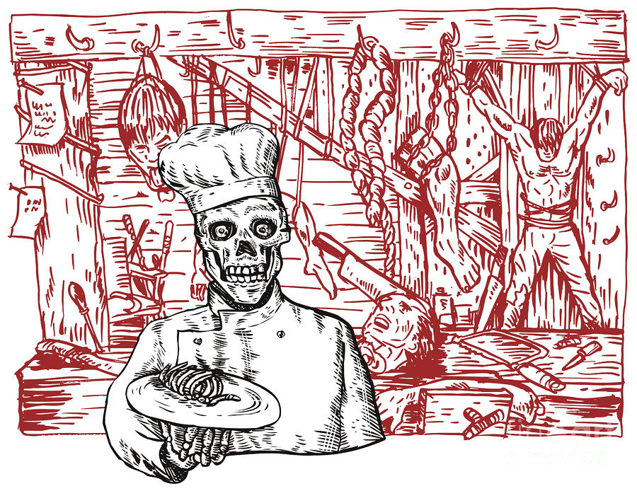 Skull Cook Digital Art  - Skull Cook Fine Art Print