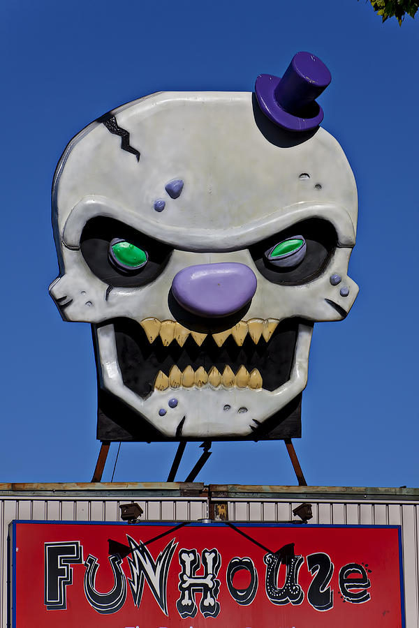 Skull Fun House Sign Photograph
