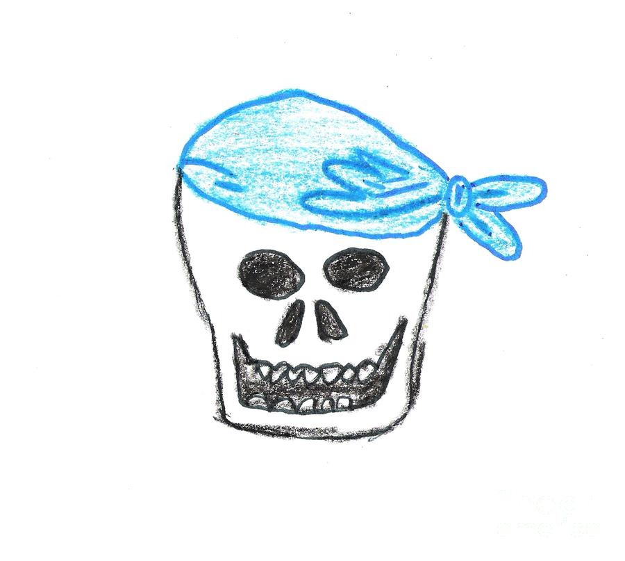 Skull In Blue Bandanna Drawing  - Skull In Blue Bandanna Fine Art Print