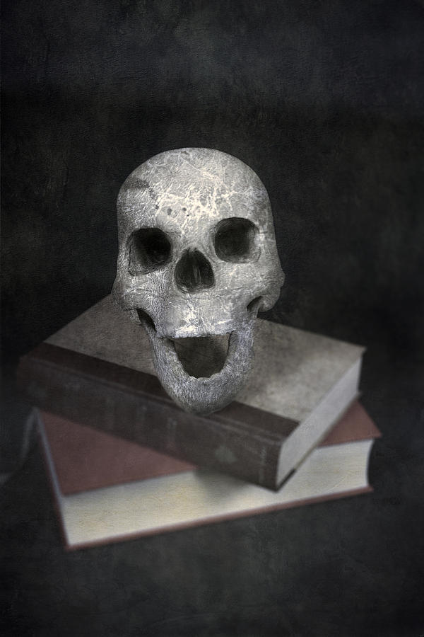 Skull On Books Photograph  - Skull On Books Fine Art Print