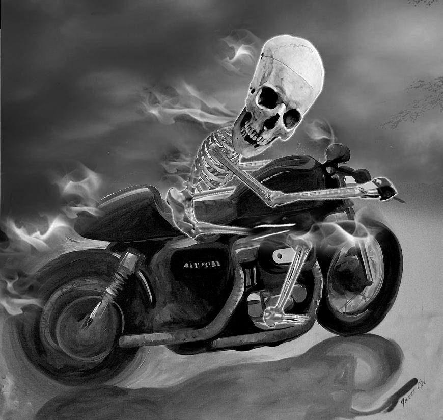 Skull Rider On Cafe Sportster Digital Art  - Skull Rider On Cafe Sportster Fine Art Print
