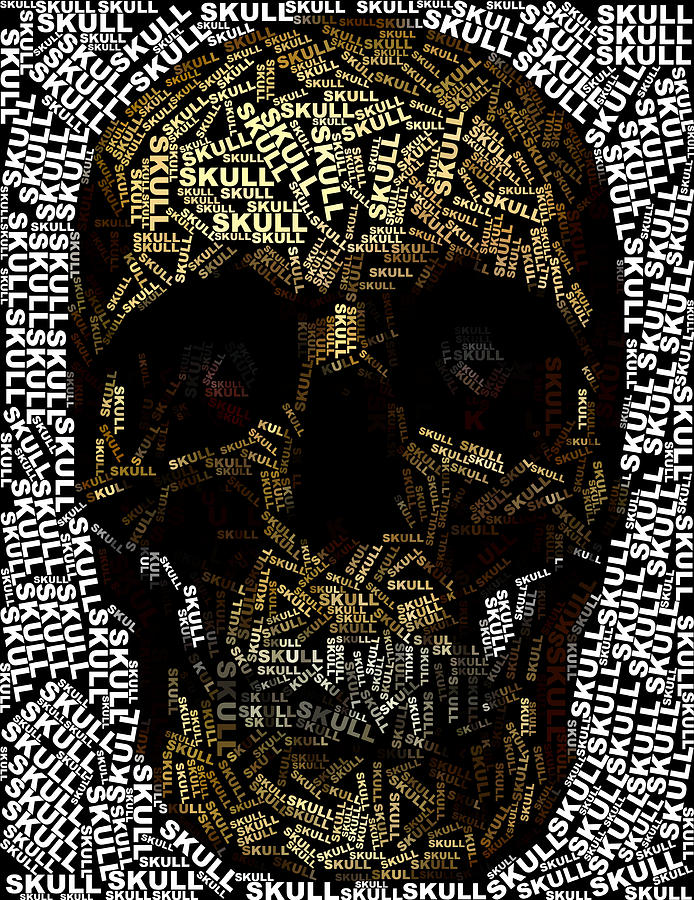 Skull Text Mosaic Digital Art  - Skull Text Mosaic Fine Art Print