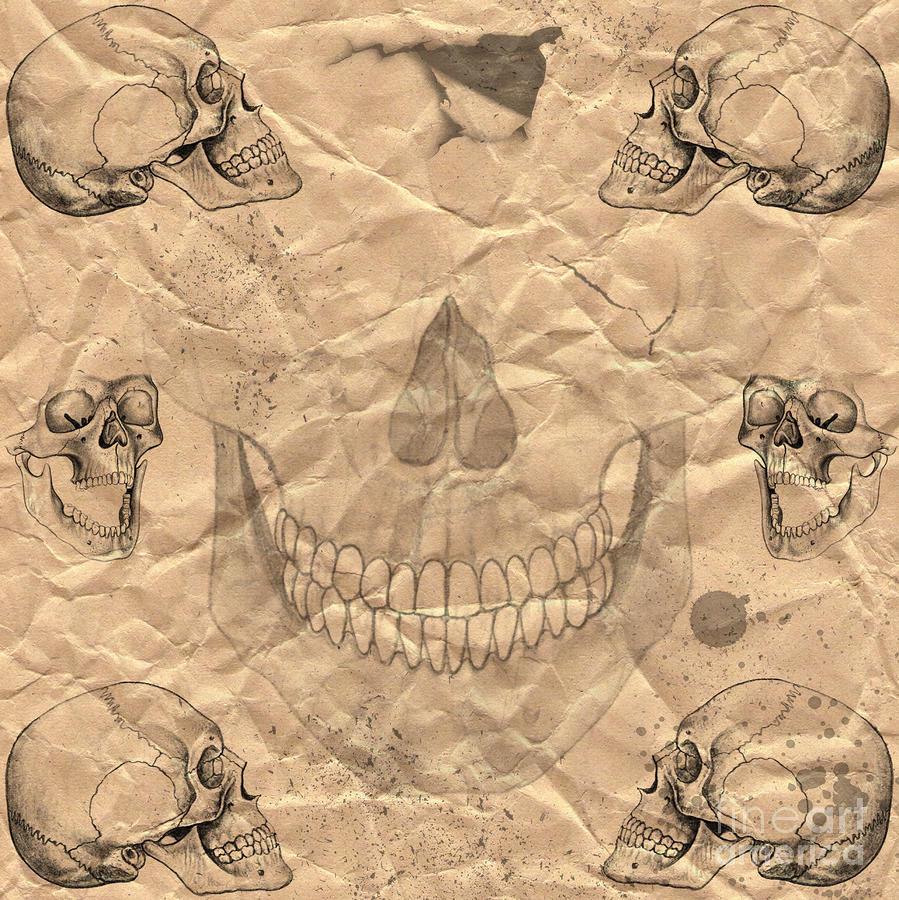 Skulls In Grunge Style Digital Art
