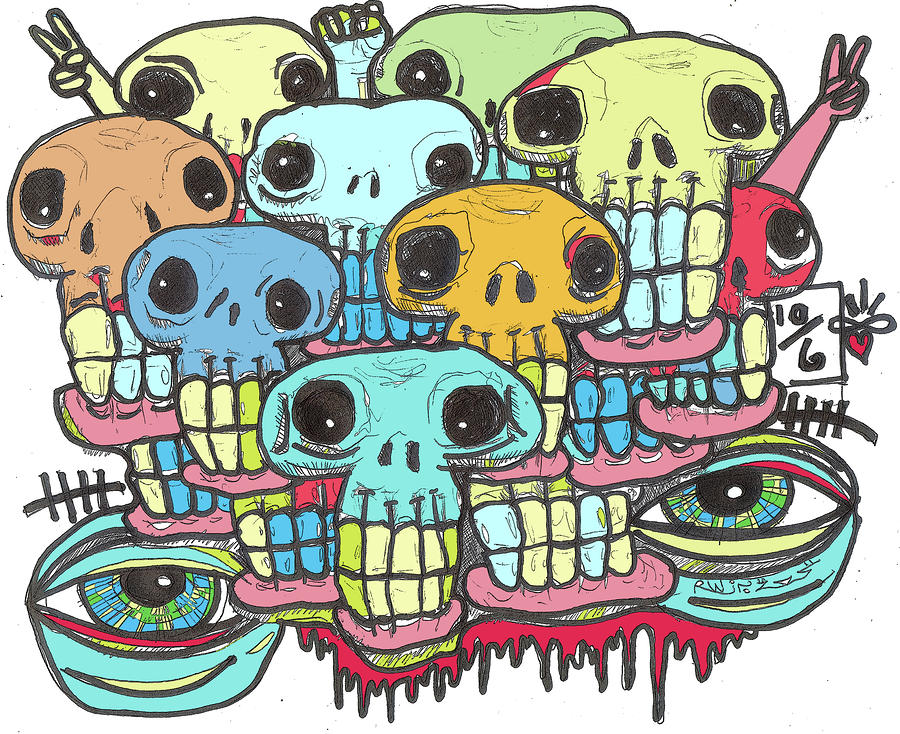 Skullz Digital Art  - Skullz Fine Art Print