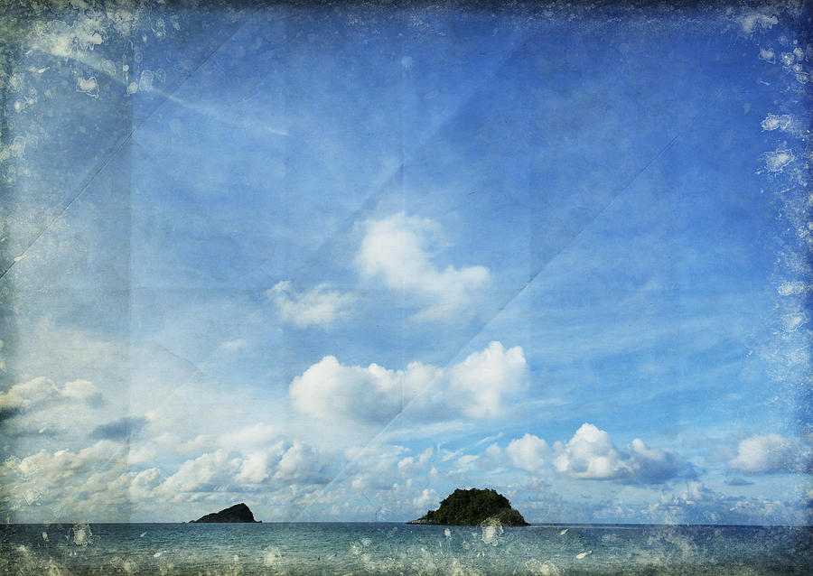 Sky And Cloud On Old Paper Photograph  - Sky And Cloud On Old Paper Fine Art Print