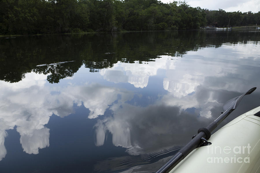 Sky And Clouds Reflected In River Photograph  - Sky And Clouds Reflected In River Fine Art Print