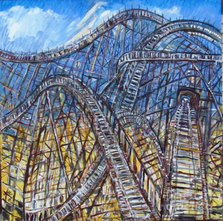 Sky High Coaster Painting  - Sky High Coaster Fine Art Print