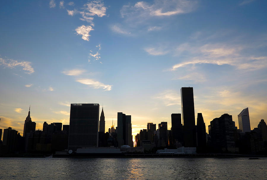 Manhattan Photograph - Skyline Sunset Silhouette by Heidi Hermes