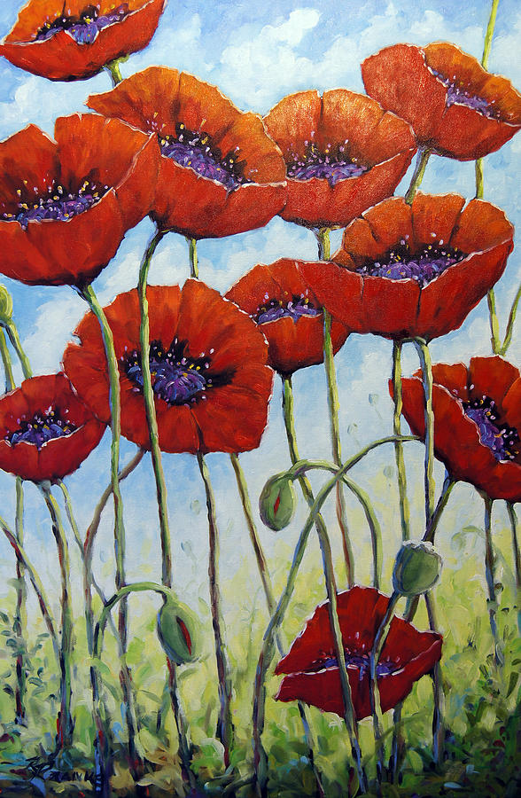 Skyward Poppies Painting  - Skyward Poppies Fine Art Print