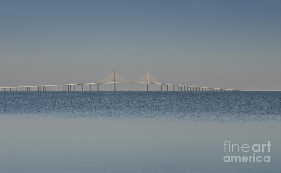 Skyway Bridge In Blue Photograph  - Skyway Bridge In Blue Fine Art Print