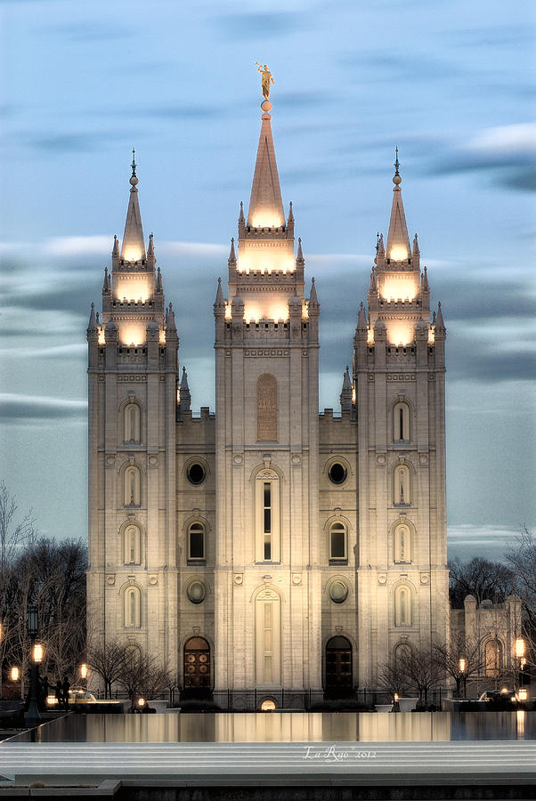 Slc Temple Blue Photograph  - Slc Temple Blue Fine Art Print