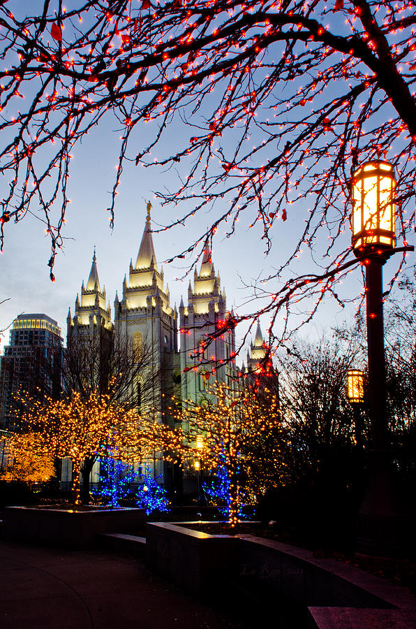 Slc Temple Lights Lamp Photograph  - Slc Temple Lights Lamp Fine Art Print