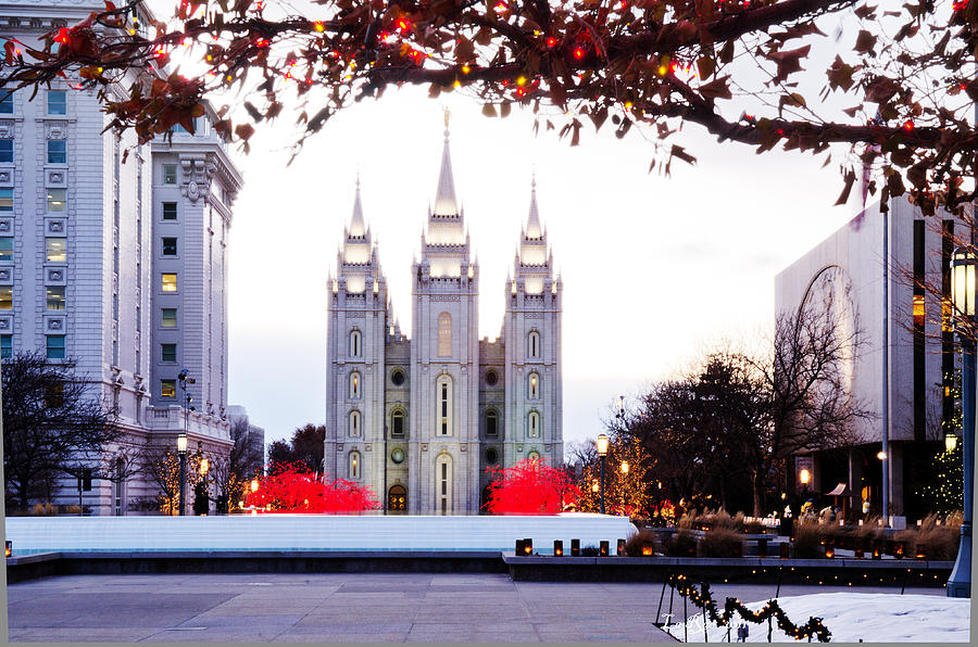 Slc Temple Red And White Photograph  - Slc Temple Red And White Fine Art Print