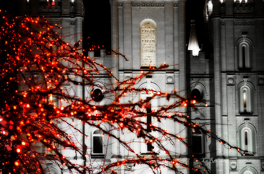 Slc Temple Red White N Black Photograph  - Slc Temple Red White N Black Fine Art Print
