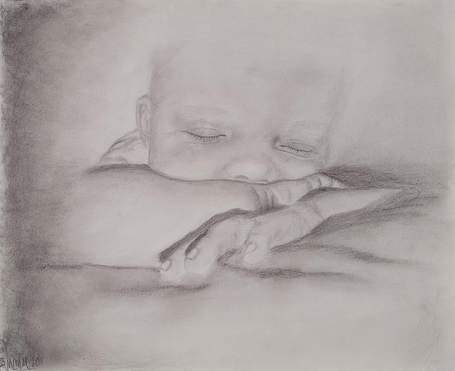Sleeping Baby Drawing by Michelle Wolff