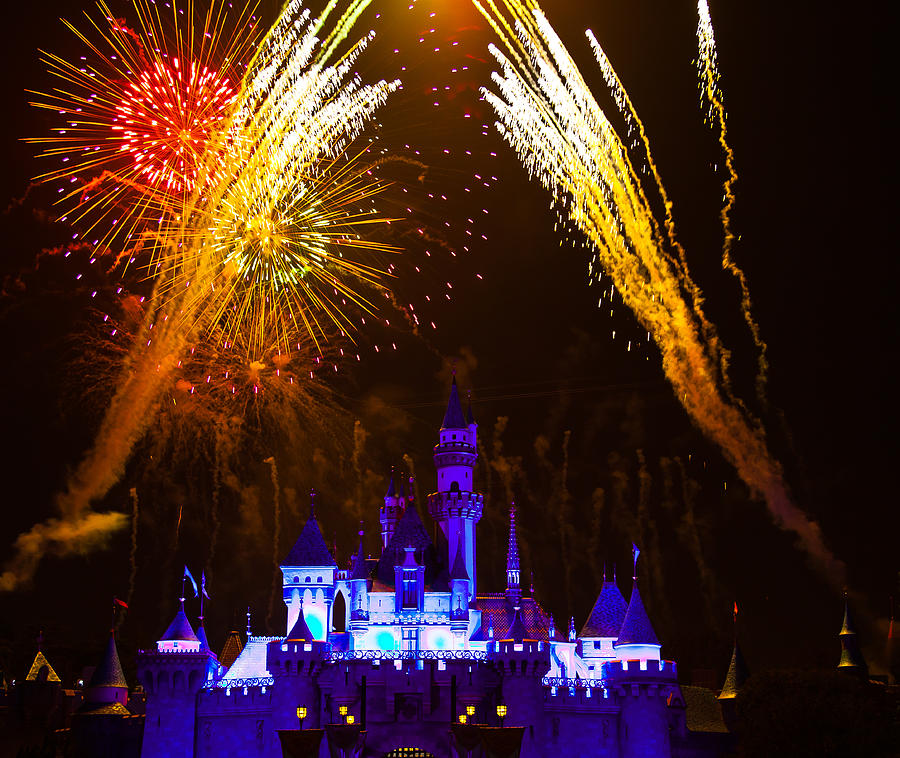 Sleeping Beauty Castle And Fireworks Photograph  - Sleeping Beauty Castle And Fireworks Fine Art Print