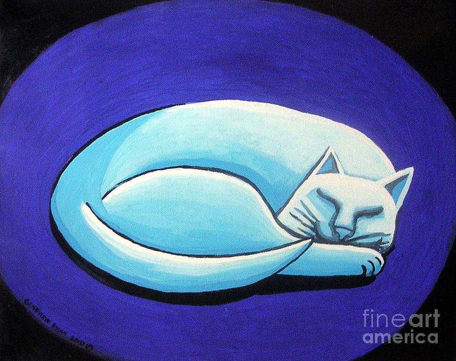 Sleeping Cat Painting  - Sleeping Cat Fine Art Print