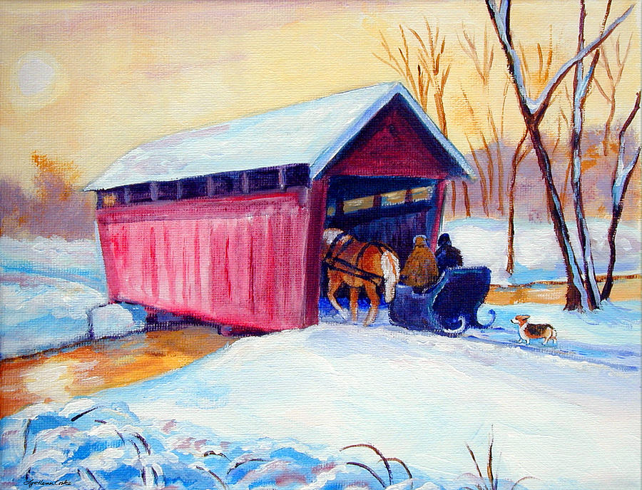 Sleigh Ride - Pembroke Welsh Corgi Painting