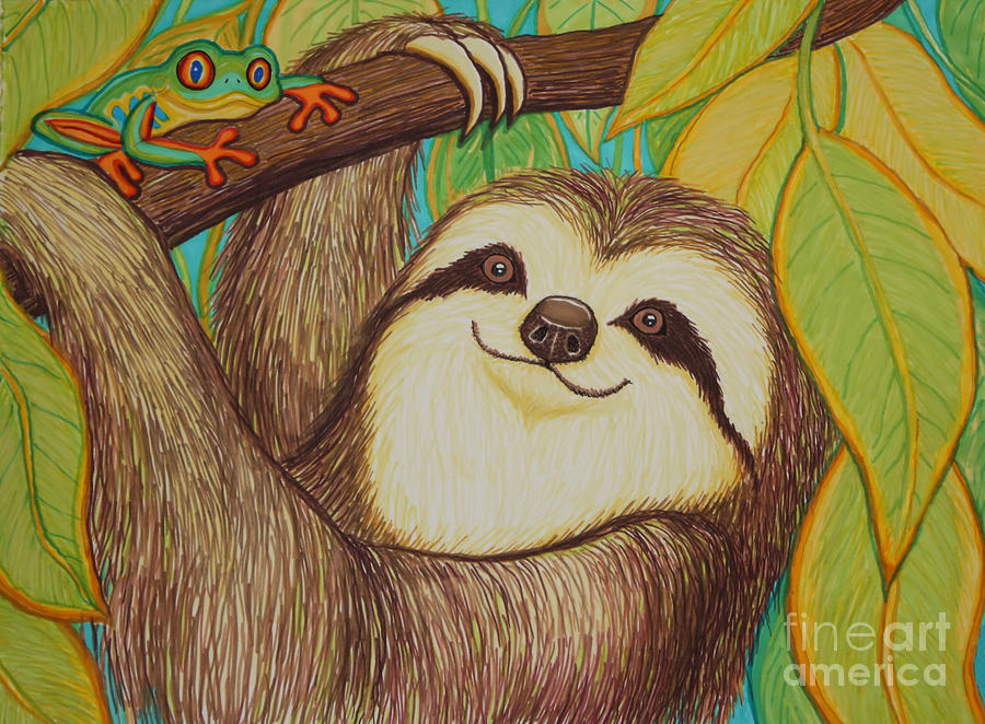 Sloth And Frog Drawing  - Sloth And Frog Fine Art Print