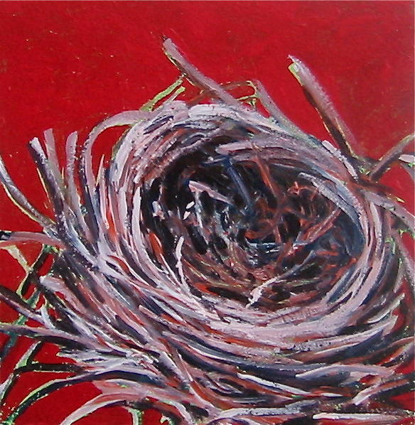 Small Nest On Red Painting