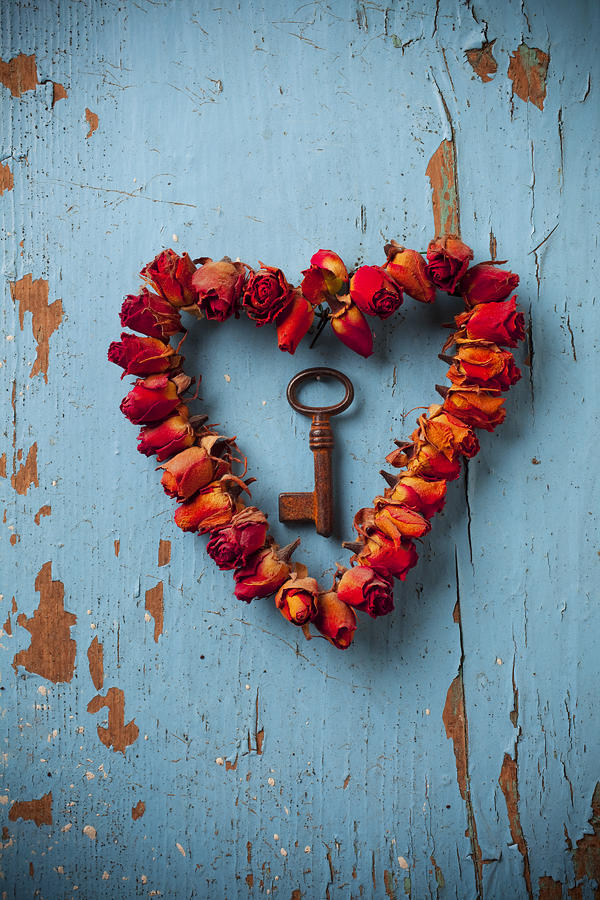 Small Rose Heart Wreath With Key Photograph  - Small Rose Heart Wreath With Key Fine Art Print