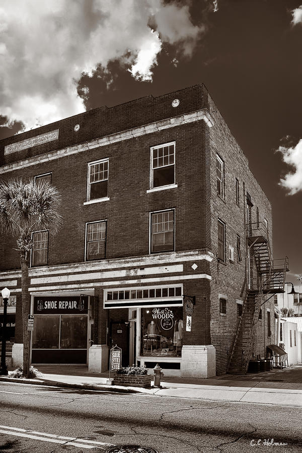 Small Town Shops - Sepia Photograph