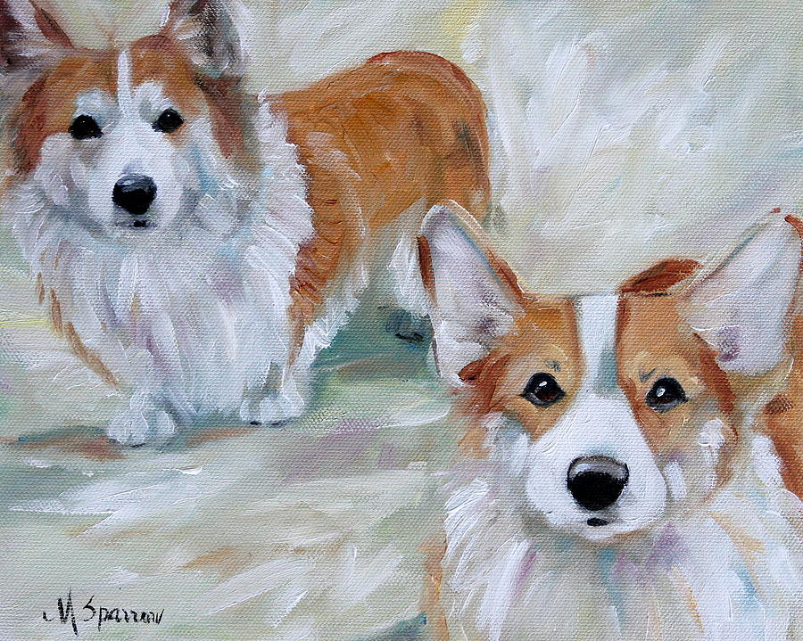 Art Painting - Smarty And Rosie by Mary Sparrow