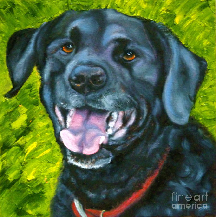 Smiling Lab Painting  - Smiling Lab Fine Art Print