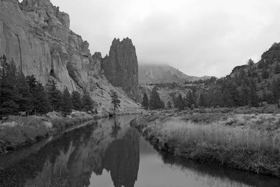 Smith Rock State Park In Black And White Photograph