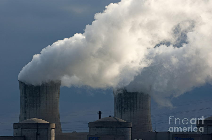 Smoke Chimneys Of Tricastin Nuclear Power Plant Photograph