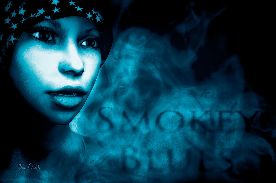 Smokey Blues Mixed Media  - Smokey Blues Fine Art Print