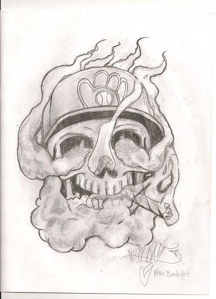 Smoking Skull Drawing