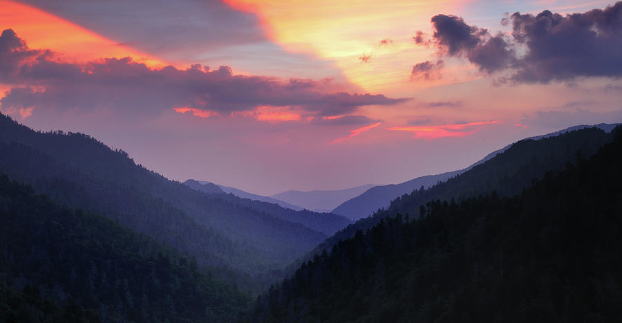 Smoky Mountain Sunset From Mortons Overlook Photograph  - Smoky Mountain Sunset From Mortons Overlook Fine Art Print