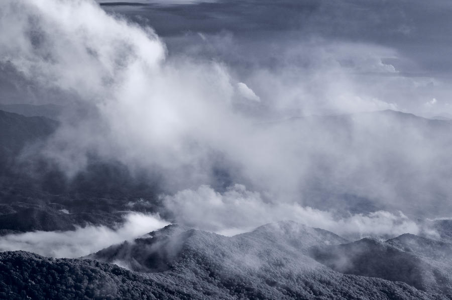 Smoky Mountain Vista In B And W Photograph