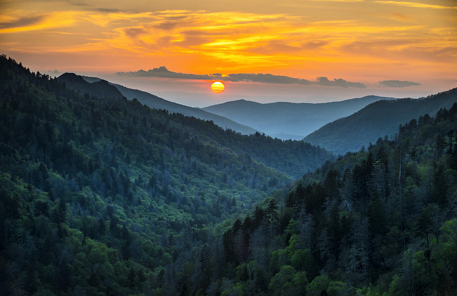 Smoky Mountains Sunset - Great Smoky Mountains Gatlinburg Tn Photograph  - Smoky Mountains Sunset - Great Smoky Mountains Gatlinburg Tn Fine Art Print
