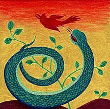 Snake And Bird  Ceramic Art