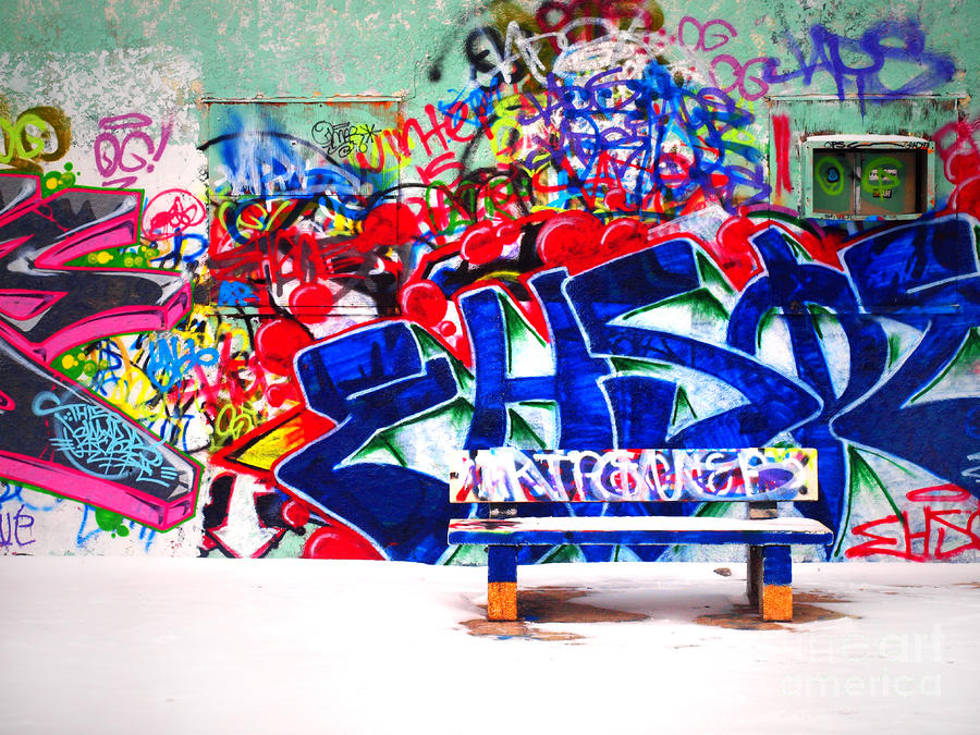 Snow And Graffiti Photograph
