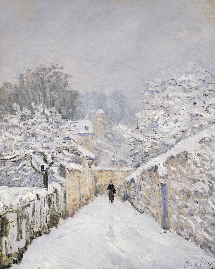 Snow At Louveciennes Painting  - Snow At Louveciennes Fine Art Print