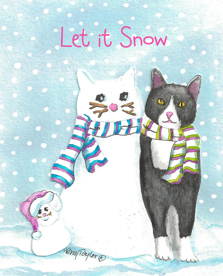 Snow Cats Painting  - Snow Cats Fine Art Print