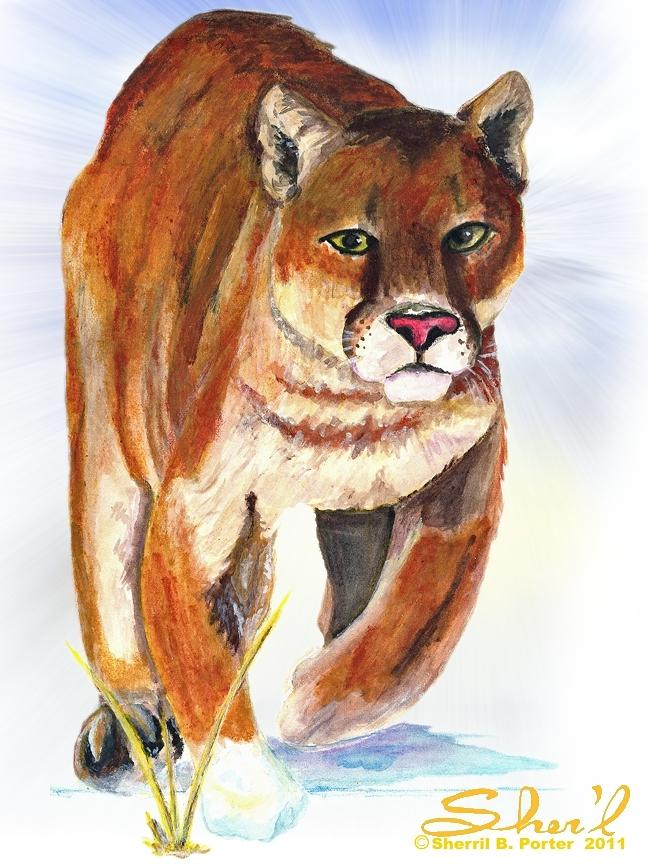 Snow Cougar Painting