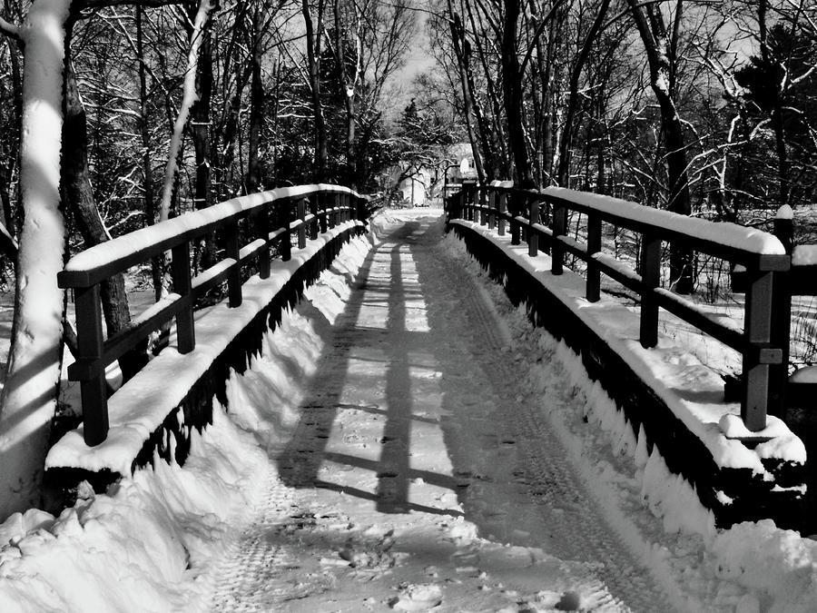 Snow Covered Bridge Painting