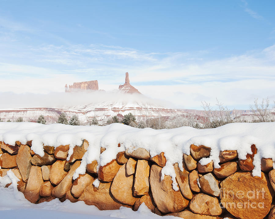 Snow Covered Rock Wall Photograph