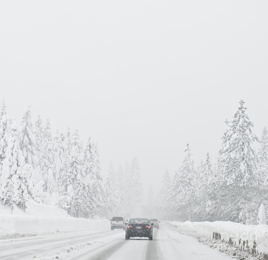 Snow-covered Rural Highway Photograph