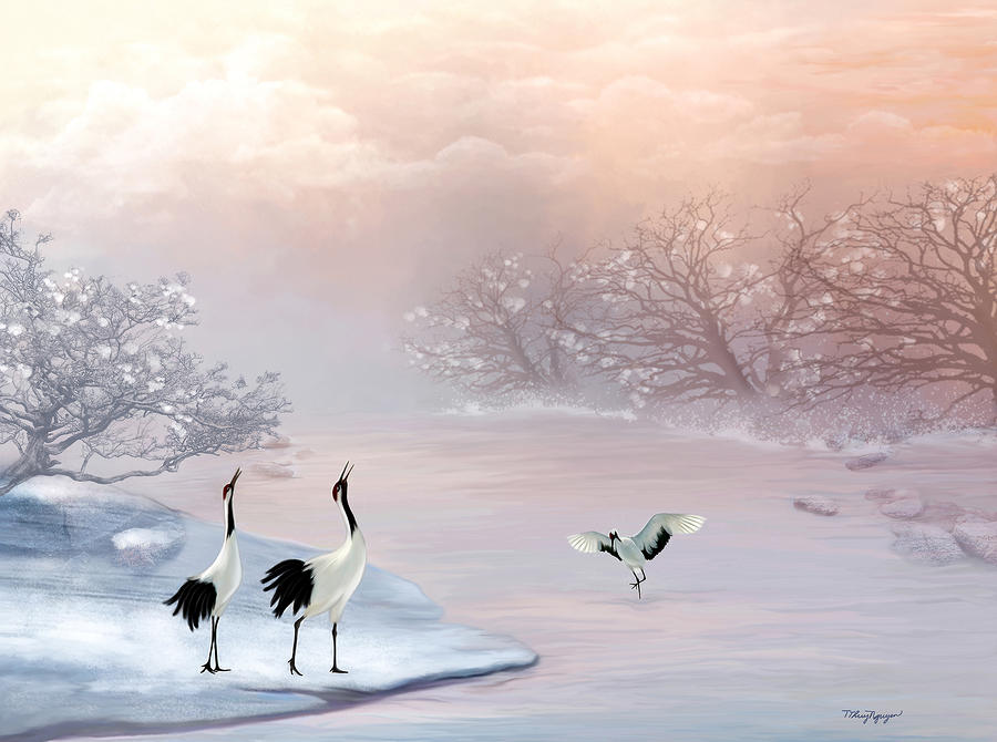Snow Cranes Digital Art  - Snow Cranes Fine Art Print